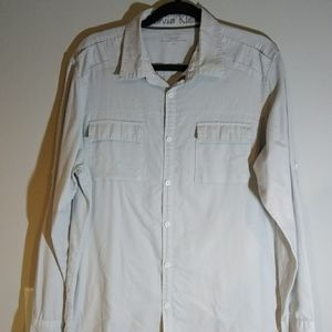 Calvin Klein Shirt Long Sleeve Casual Button Up A+